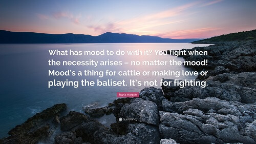 A photo of a rocky shore, with a quote from Dune. What has mood to do with it? You fight when the necessity arises - no matter the mood! Mood's a thing for cattle or making love or playing the baliset. It's not for fighting.